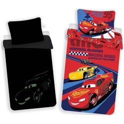 JERRY FABRICS Povlečení CARS RED 02 SVÍTÍCÍ 140x200 70x90 cm