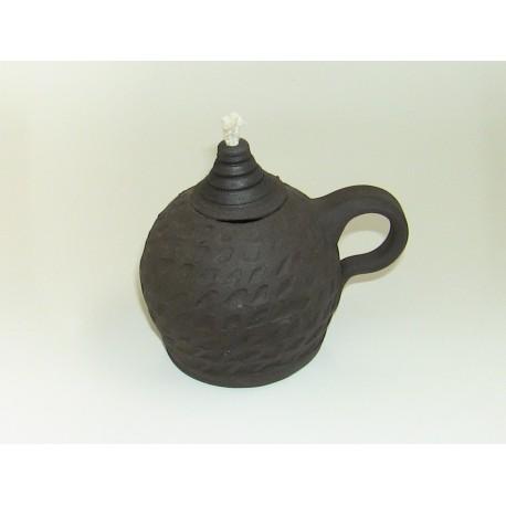 Keramická petrolejová lampa (zdobená oblá lampa)