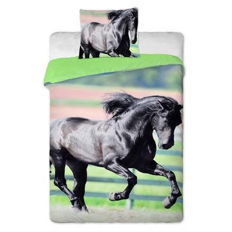 JERRY FABRICS Povlečení Kůň černý 140x200, 70x90 cm