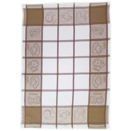 Utěrky z Egyptské bavlny 3ks (hnědé s obrázky)