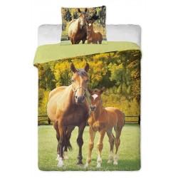 Jerry Fabrics povlečení bavlna Koně zelené 140x200 70x90 cm