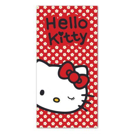 Osuška Detexpol Hello Kitty červená bavlna-froté 70 x 140 cm