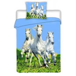 Jerry fabrics Povlečení Koně bílé bavlna 140x200 70x90