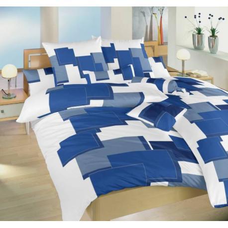 Povlečení flanel - Obdélníky 3D modré 1x 140/200, 1x 90/70