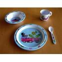 Sada nádobí 4dílná Krteček a autíčko (modrá)