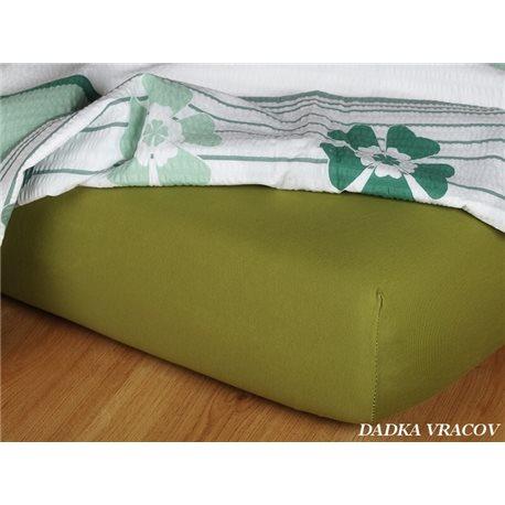 Jersey prostěradlo 90x220 cm (olivové)