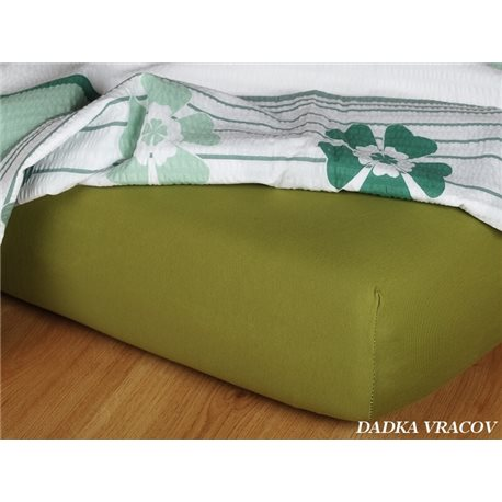 Dadka Jersey prostěradlo EXCLUSIVE olivové 90x200 cm