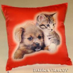 Dětský polštářek Kotě a pes na červeném
