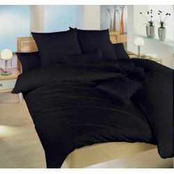 Saténové povlečení 140x200, 70x90 cm (černé)
