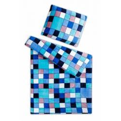 Povlečení mikroflanel Kostka modrá 140x200, 70x90 cm