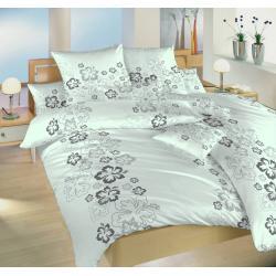 Povlečení bavlna Ibišek šedý 140x200, 70x90 cm