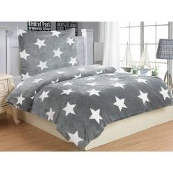 Povlečení mikroflanel Stars grey 140x200, 70x90 cm