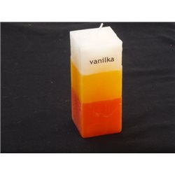 Svíčka kvádr tříbarevný Vanilka