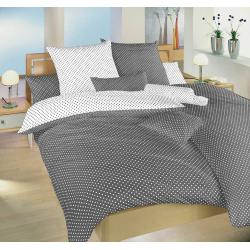 Bavlněné povlečení Puntík 140x200, 70x90 cm (bílošedé)