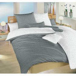 Bavlněné povlečení Hvězdička bílá/šedá DUO 140x200, 70x90 cm