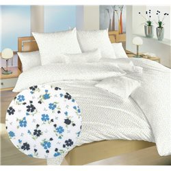 Povlečení bavlna Květinky modré 140x200, 70x90 cm