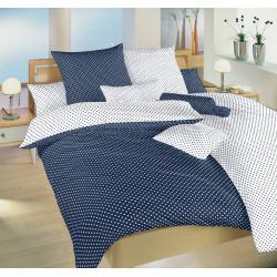 Bavlněné povlečení Puntík tmavě modrý/bílý DUO 140x200, 70x90cm