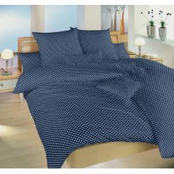 Bavlněné povlečení Puntík bílý na tmavě modrém 140x200, 70x90 cm