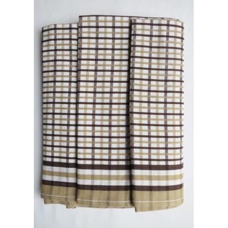 Utěrky z Egyptské bavlny 3ks (káro hnědé)