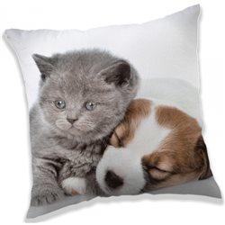 JERRY FABRICS Povlak na polštářek Kotě a štěně 40x40 cm