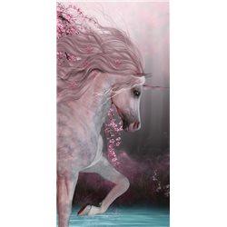 JERRY FABRICS Plážová osuška UNICORN-JEDNOROŽEC ROSES 70x140 cm