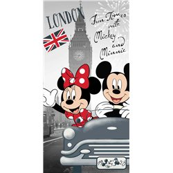 JERRY FABRICS Bavlněná osuška MICKEY MOUSE A MINNIE V LONDÝNĚ 70x140 cm