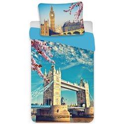 JERRY FABRICS Bavlněné povlečení LONDON BLUE 140x200, 70x90 cm