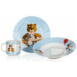 BANQUET Dětská porcelánová sada nádobí MEDVÍDCI MODRÁ 3 dílná