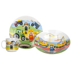 BANQUET Dětská porcelánová sada nádobí STAVITELÉ 3 dílná