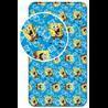 Dětskébavlněné prostěradlona standardní postel s motivem z animovaného seriáluSpongeBob v kalhotách. Základní vlastnosti:rozměry (šxd): 90x200 cm. bavlněné prostěradlo. pro výšku matrace až 25 cm. vypínací guma v rozích prostěradla. licenční výrobek.