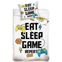 TIPTRADE Bavlněné povlečení EAT, SLEEP, GAME, REPEAT 140x200, 70x90 cm